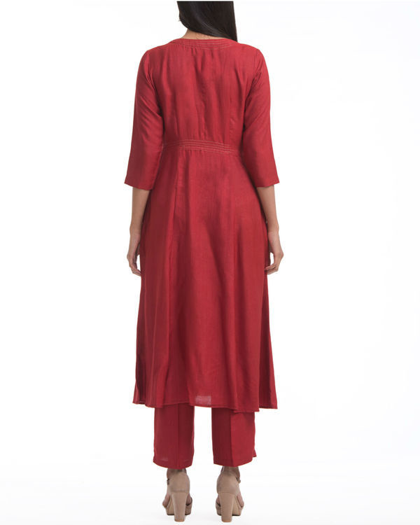 Maroon a-line yoke dress 1