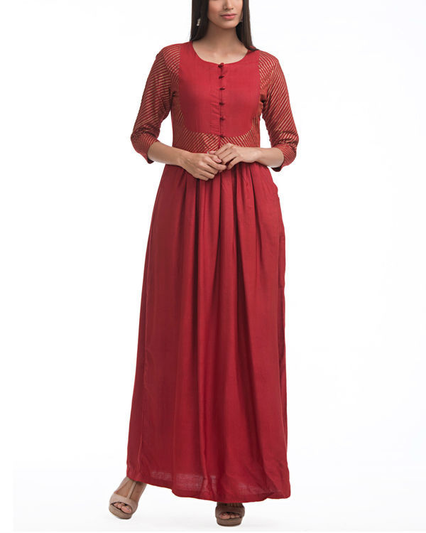 Maroon patch printed maxi 1