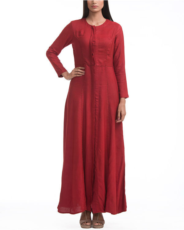 Maroon fit and flare maxi 2