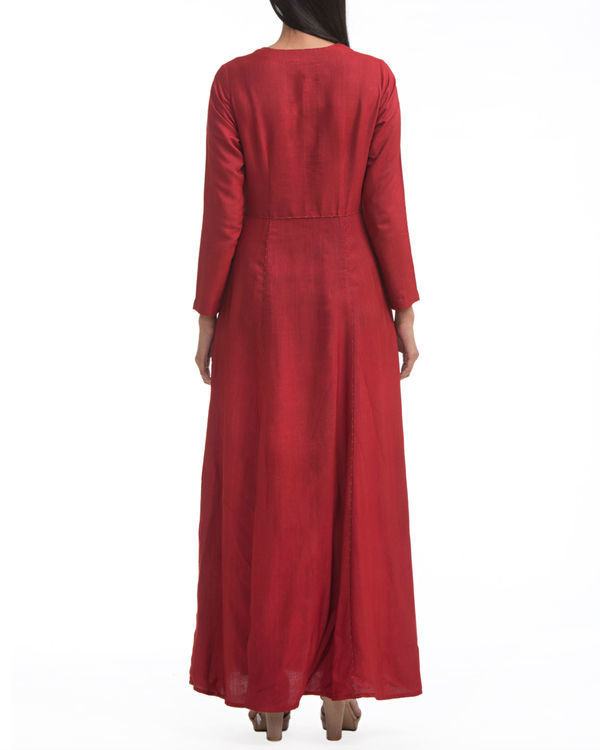 Maroon fit and flare maxi 1