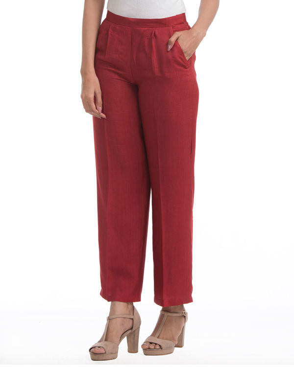 Maroon pleated pants 1