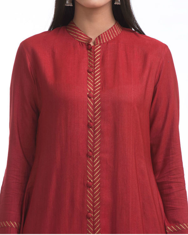 Maroon flared front slit tunic 2