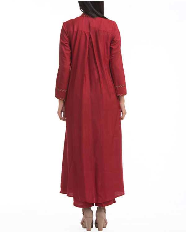 Maroon flared front slit tunic 1