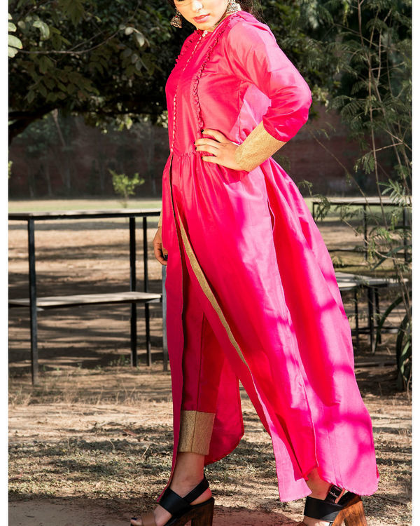 Bright pink kurta cape and pants 2