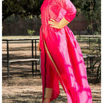 Thumb bright pink kurta cape and pants  set of two 3