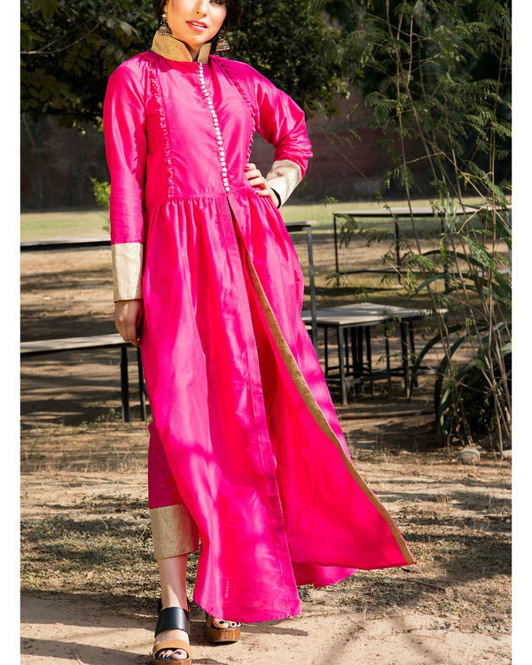 Bright pink kurta cape and pants 1