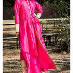 Thumb bright pink kurta cape and pants  set of two