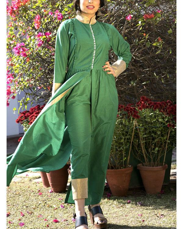 Leaf green kurta cape and pants 1