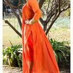 Thumb orange kurta cape and pants  set of two 2