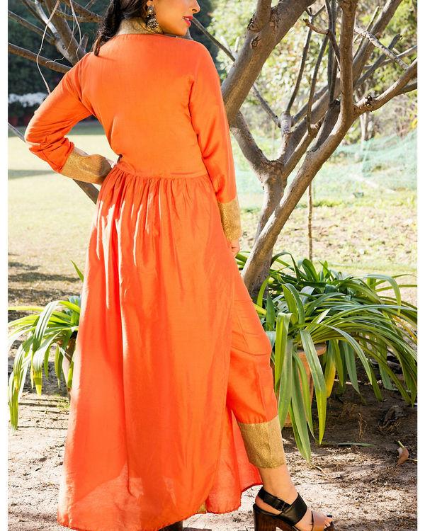Orange kurta cape and pants 1