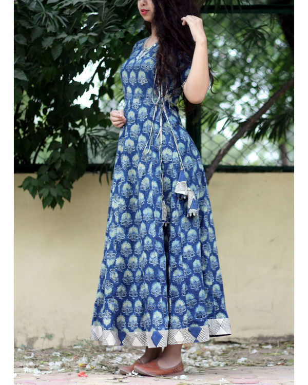 Indigo ajrakh print angrakha dress 3