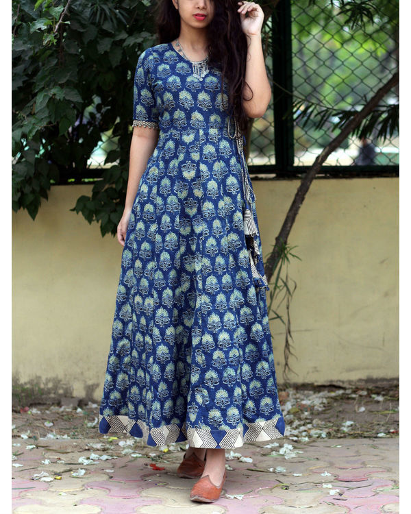 Indigo ajrakh print angrakha dress 2
