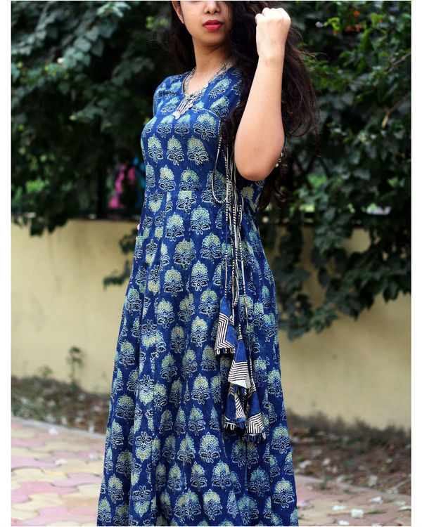 Indigo ajrakh print angrakha dress 1