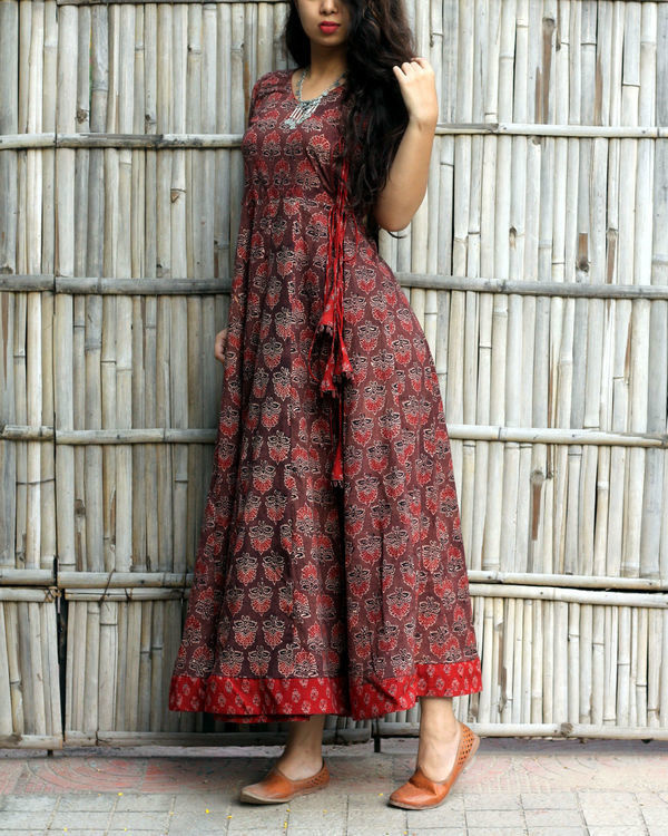 Caramel brown ajrakh print angrakha dress 3