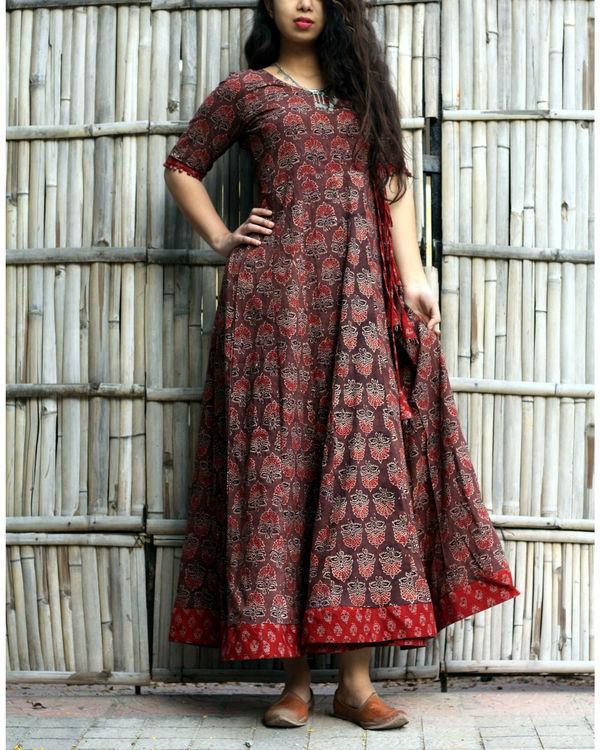 Caramel brown ajrakh print angrakha dress 2