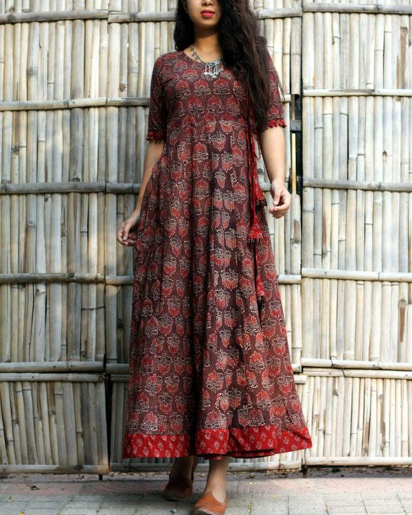 Caramel brown ajrakh print angrakha dress 1