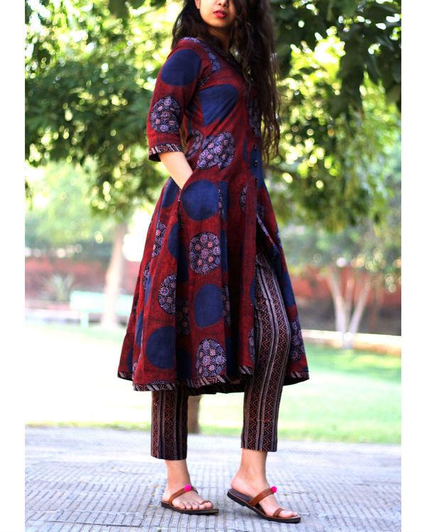 Beet red circle print ajrakh kurta with striped pants 1