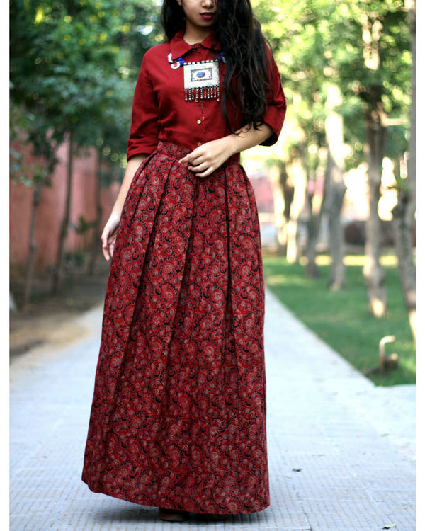 Brick red shirt with jaal ajrakh print skirt 3