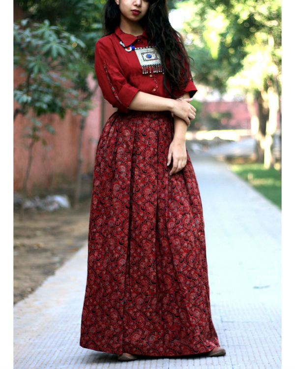 Brick red shirt with jaal ajrakh print skirt 2
