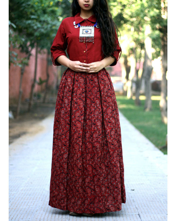 Brick red shirt with jaal ajrakh print skirt 1