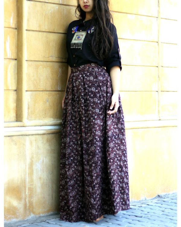 Black shirt with jaal ajrakh print skirt 1
