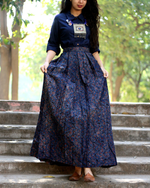 Navy blue shirt with jaal ajrakh print skirt 2