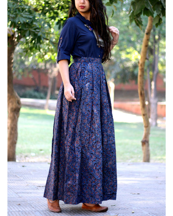 Navy blue shirt with jaal ajrakh print skirt 1