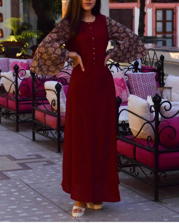 Maroon contrast dress 1