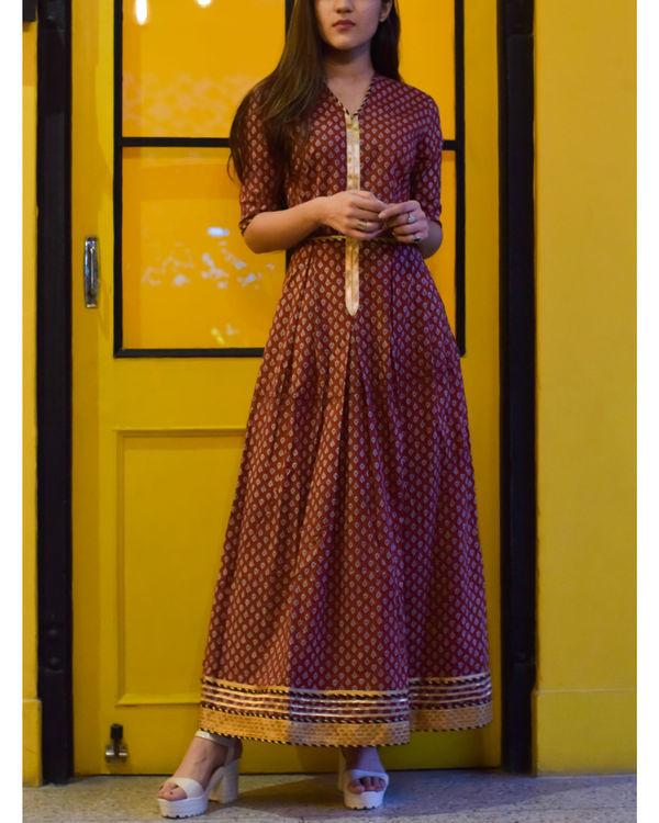 Brick red long dress 2