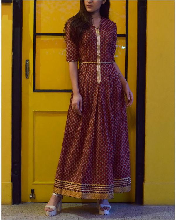 Brick red long dress 1
