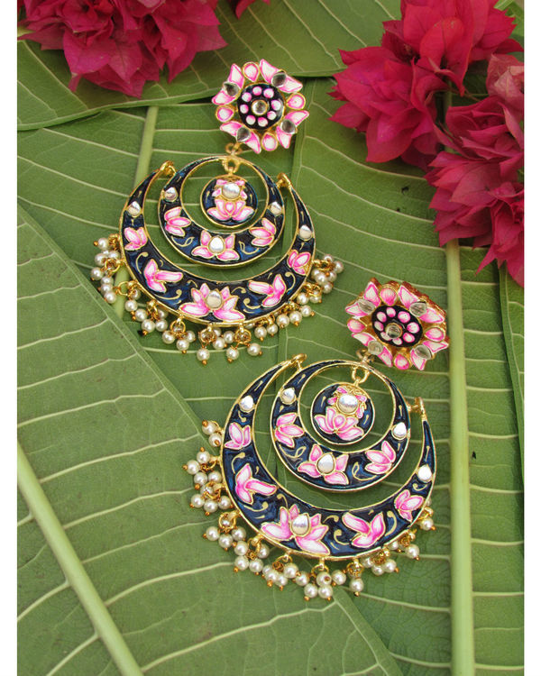 Pink and Navy Blue Lotus Earring 1