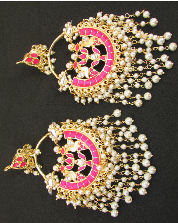 Pink Chandbali with Pearl Hangings 1