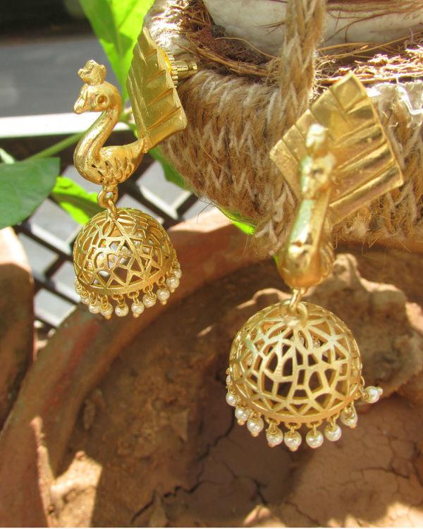 Gold Peacock Earrings 1