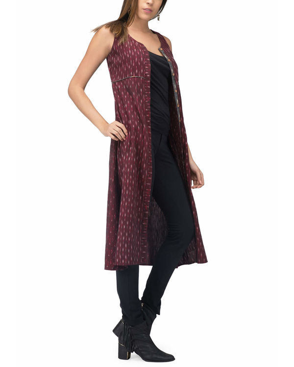 Maroon ikat jacket dress 3