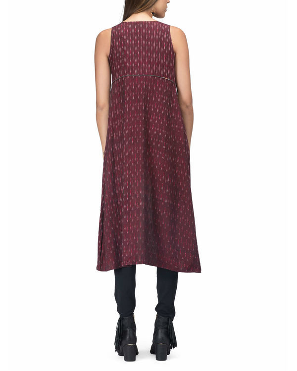 Maroon ikat jacket dress 1