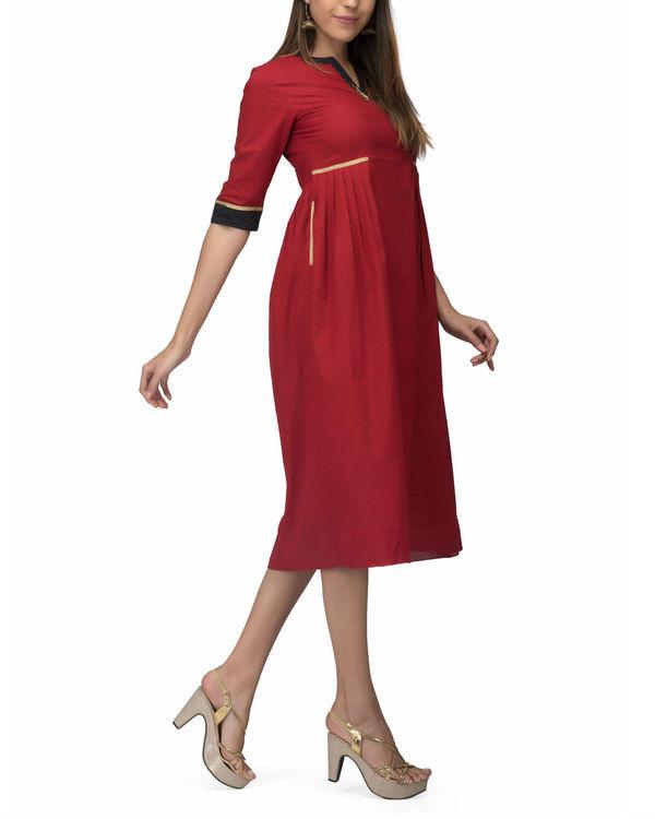 Red side pleat dress 3