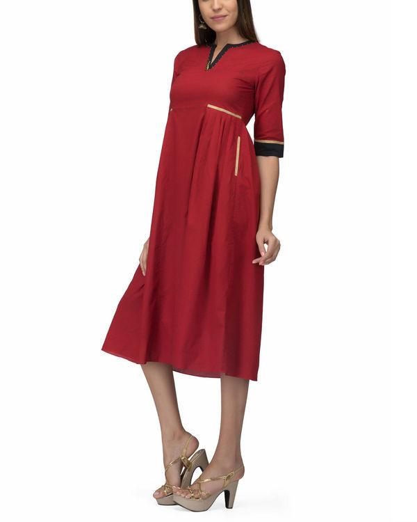 Red side pleat dress 2