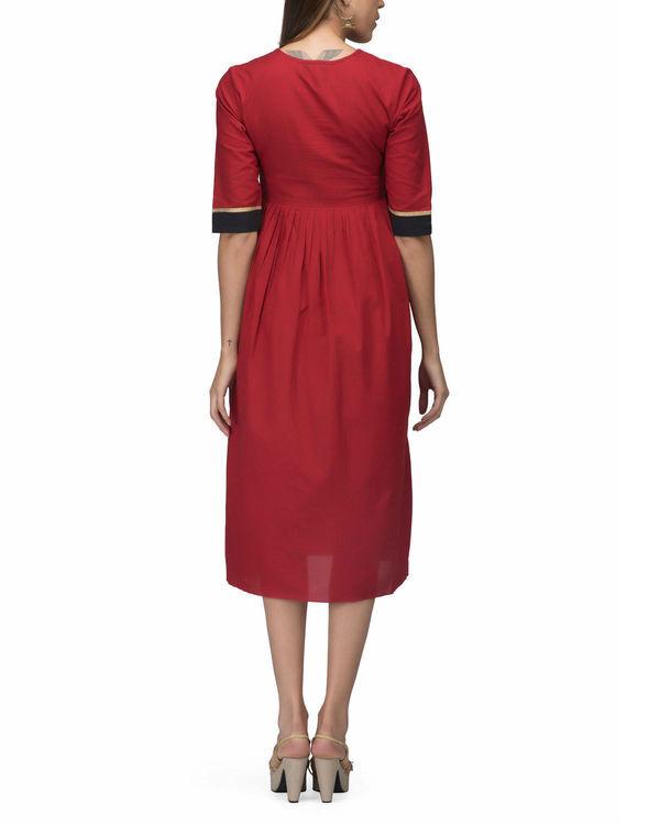Red side pleat dress 1