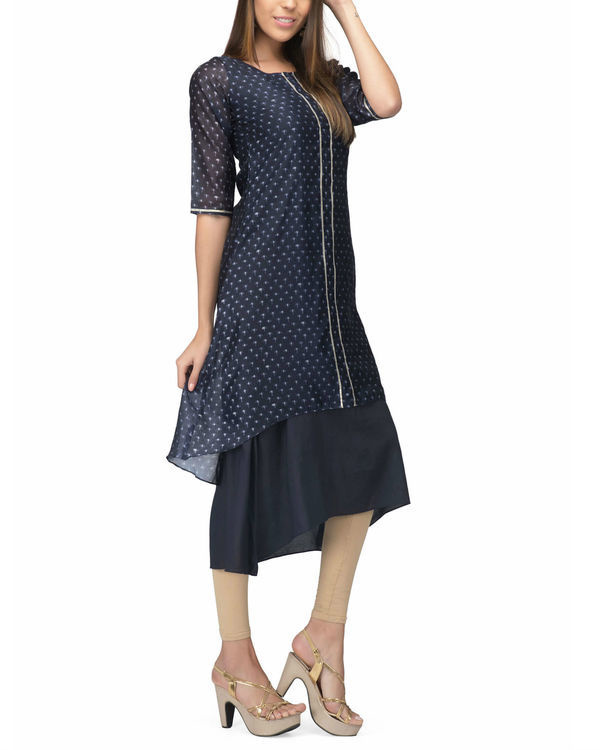 Navy Chanderi Layer dress 3