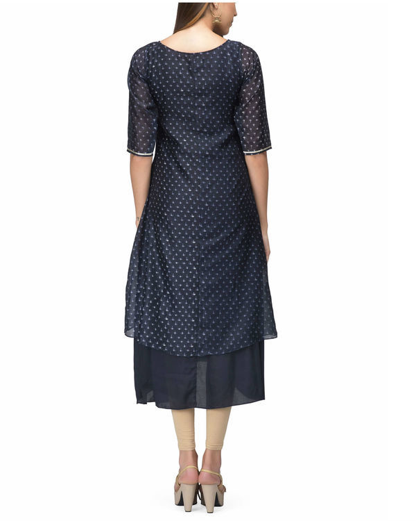 Navy Chanderi Layer dress 1