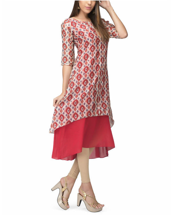 White red chanderi layer dress 2