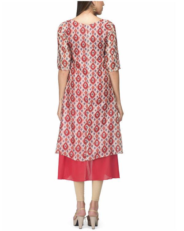 White red chanderi layer dress 1
