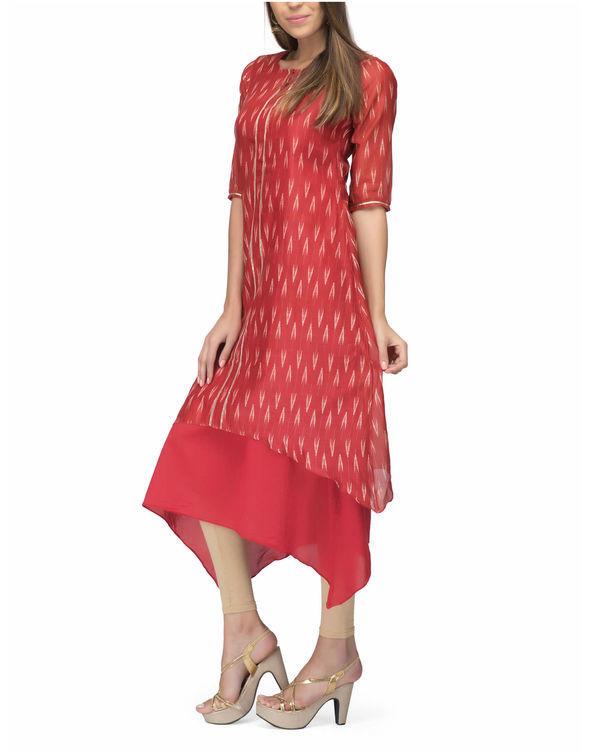 Chanderi red print layered dress 3