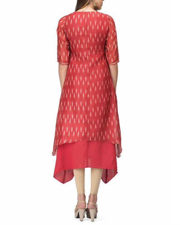 Chanderi red print layered dress 1