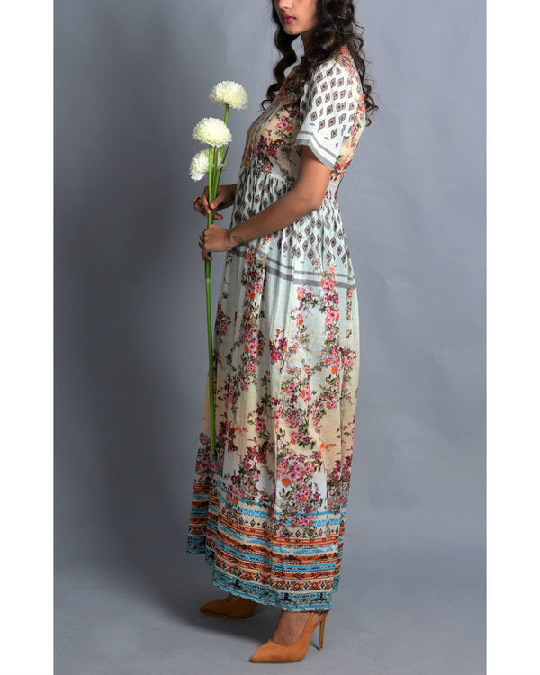 Moroccan multi-print long dress 1