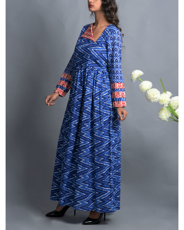 Indigo patola print dress with fall flap collar 2