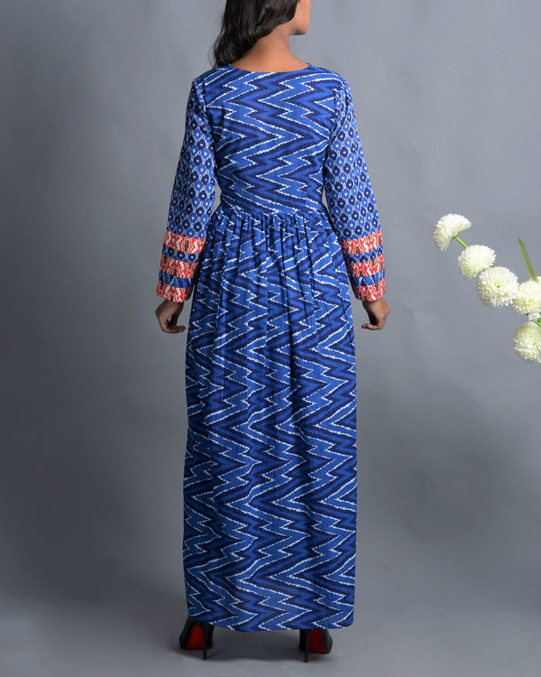 Indigo patola print dress with fall flap collar 1