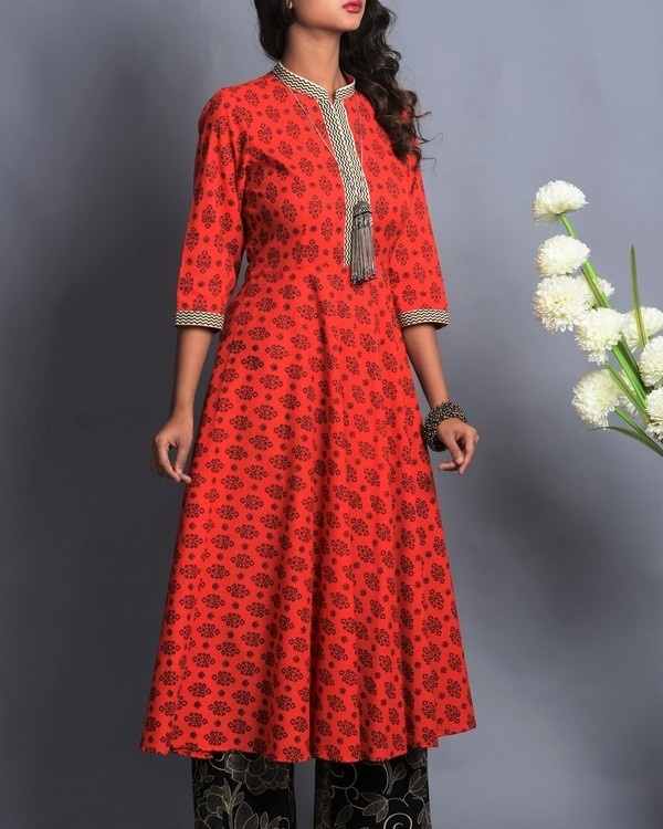 Red and black flared kurta palazzo set 2