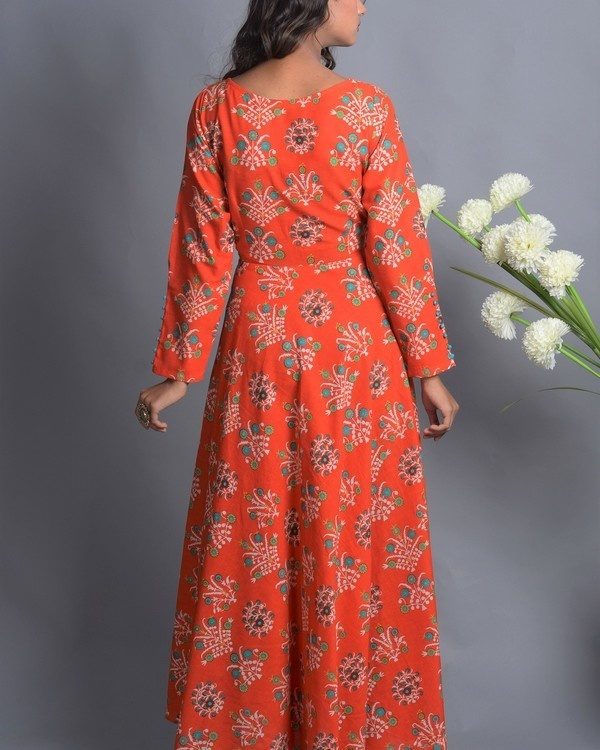 Orange floral flared dress 1