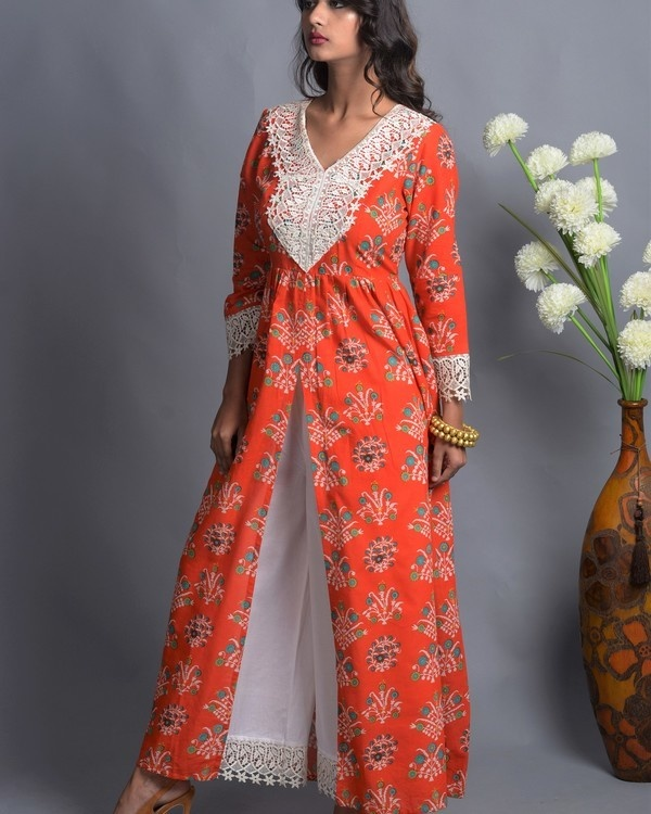 Orange crochet slit kurta with white palazzo 2